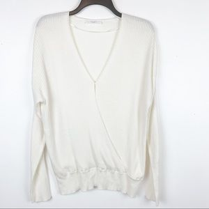 ELODIE WRAP STYLE RIBBED KNIT SWEATER IVORY XL